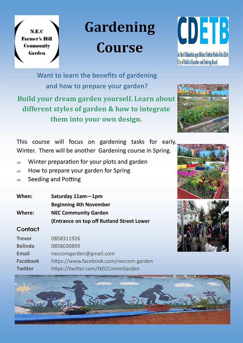 NEC Community Garden Newsletter / FREE 8 week gardening courseposter