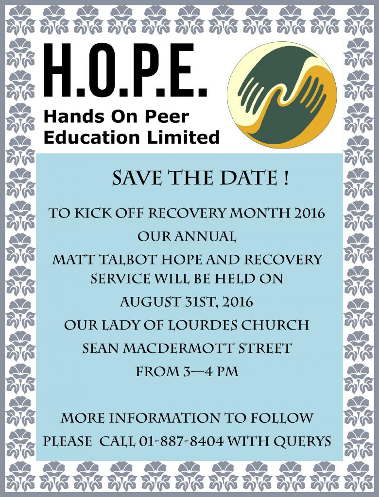 SAVE THE DATE - Matt Talbot 2016